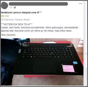 Notebook sem tela - Flagras de Atendimento