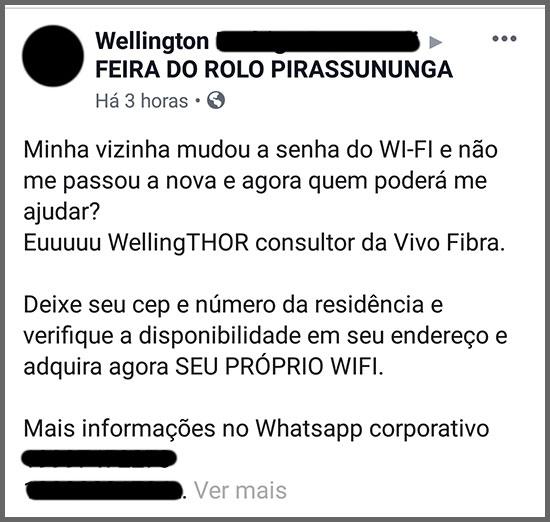 Senha Wi-Fi - Flagras de Atendimento